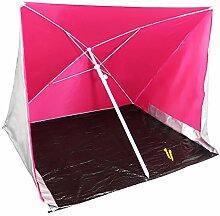 COM-FOUR® Strandschirm mit UV-Schutz und Windschutz, Sonnenschirm für den Strand in pink, 170x170cm