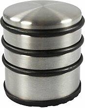 COM-FOUR® Türstopper aus Edelstahl im Chromdesign, Ø 7 cm, Türschutz Türhalter Türfeststeller Anschlagschutz (7 cm hoch)