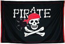 COM-FOUR® XXL Piratenflagge mit Schriftzug, Totenkopf und gekreuzten Knochen, Jumbo Fahne mit Knochen und Totenkopf als Deko für Fasching, Halloween und Mottopartys, 300 x 200 cm (01 Stück - 300x200cm)