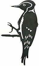 Combini rostige Gartendeko für Den Baum, Baumstecker Glücksvogel Specht, Edelrost, 4mm Edelstahl, 16 x 22,5 cm groß