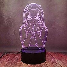 Comic Zero Two Girl Decor Nachtlicht, 3D LED