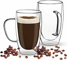 COMOOO Kaffeetassen aus Glas, doppelwandig,