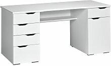 Computertisch in Hochglanz Weiß mit Schubladen