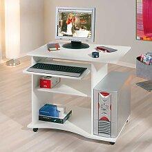 Computertisch in Weiß fahrbar