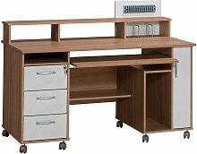 Computertisch mit Druckerablage auf Rollen