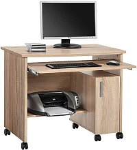 Computertisch mit Rollen Druckerfach