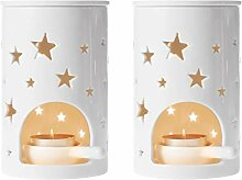 ComSaf Duftlampe Keramik Weiß mit Kerzenhalter