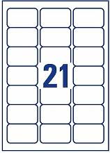 Comtechlogic® A4 weiß selbstklebend blanko Lieferung Adress-Etiketten Post Etikett Amazon FBA Strichcode Aufkleber kompatibel mit Inkjet & Laser Jet Drucker – 21 Etikett pro Seite