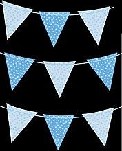 Concept4u Wimpelkette, 2m, Blau mit Punkten