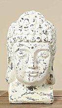 condecoro Buddhakopf Magnesia Shabby Chic Buddha Figur Gartendeko antike Optik, Ausführung:B