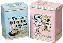 condecoro Deko - Metalldose Candy Landhaus Blechdose Vorratsdose, 2er Se