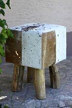condecoro Design Sitzhocker Fell Holz Möbel Hocker Flint Urzeit Sitz Polster eckig braun-weiss