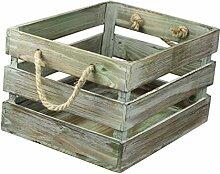 condecoro Nostalgie Kiste 'Antique' Weinkiste aus Holz mit Seil-Griff Holzkiste Weinträger, Größe:Small