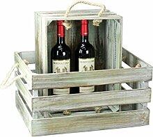 condecoro Nostalgie Kiste 'Antique' Weinkiste aus Holz mit Seil-Griff Holzkiste Weinträger, Größe:2er Se