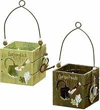 condecoro Windlicht - Garten - Glas Teelichthalter, 2er Se