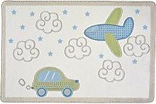 Confetti Kids / Kinderteppich / Spielteppich / Babyteppich / Automotiv / Mehrfarbig / Rutschfest / Waschbar / 100x150 cm / Weich / OEKOTEX