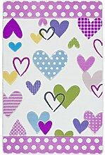 Confetti Kids / Kinderteppich / Spielteppich / Babyteppich / Herzmotiv / Pink Rosa / Rutschfest / Waschbar / 100x150 cm / Weich / OEKOTEX