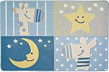 Confetti Kids / Kinderteppich / Spielteppich / Babyteppich / Mond / Tiermotiv / Blau / Grau / Rutschfest / Waschbar / 100x150 cm / Weich / OEKOTEX