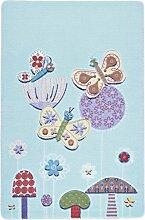 Confetti Kids / Kinderteppich / Spielteppich / Babyteppich / Schmetterling / Blau / Rutschfest / 100x150 cm / Waschbar / Weich / OEKOTEX