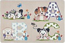 Confetti Kids / Kinderteppich / Spielteppich / Babyteppich / Welpenmotiv / Beige / Rutschfest / Waschbar / 100x150 cm / Weich / OEKOTEX