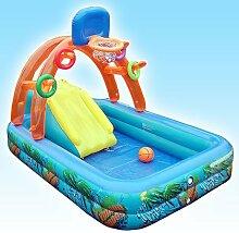 Congrouy Multifunktionale Swimmingpool Für Kinder, Hüpfburg, Baby Aufblasbare Pool Mit Rutschen, Fußpumpe Elektrische Pumpe, 200 Kugel