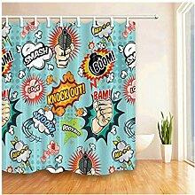 Fandhyy Duschvorhang Kinder Cartoon Tier Polyester Duschvorhang Wasserdichtes Gewebe Bad Vorhänge Home Decor 12 Haken Badausstattung