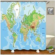 Coniea Vorhänge Bad Fenster Weltkarte
