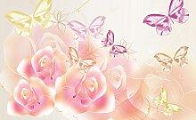 Consalnet Fototapete Schmetterlinge Blumen, Motiv
