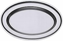 Contacto Edelstahl Bratenplatte oval 36 x 25 cm