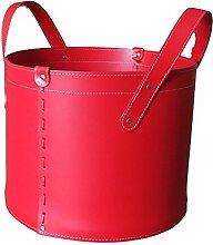 CONTENITORE TN: Korb Leder, aus recyceltem Leder (Lederfaserstoff) Farbe Rot, mit 4 gummierten Räder.