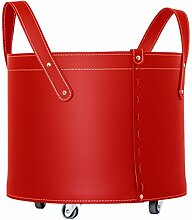 CONTENITORE TN L.E.: Korb Leder, aus recyceltem Geprägte Leder (Lederfaserstoff) Farbe Rot, mit 4 gummierten Räder.