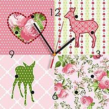 Contento 866251 Wanduhr, 28 x 28 cm, Bambi rosa grün