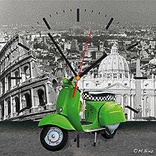 Contento 866259 Wanduhr, 28 x 28 cm, Roller grün