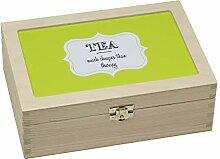Contento Teebox, Holz, grün, 23.5x16.5x9 cm