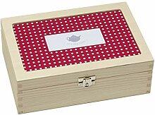 Contento Teebox, Holz, rot, 23.5x16.5x9 cm