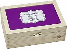 Contento Teebox, Holz, violett, 23.5x16.5x9 cm