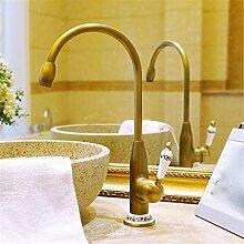 Continental antikes messing - tippen Sie aufSitzbank WaschtischmischerKönnen360Grad Rotation,Antike Wasserhahn