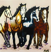 Continental Art Center BD-0386 Fliese Four Horses,