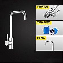 Continental Badewanne Armatur 304 Edelstahl Küche Wasserhahn im Waschbecken mit warmen und kalten Dusche zu drehen.,Hahn2