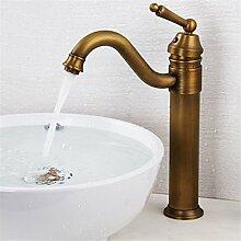 Continental Badewanne Wasserhahn Wasser drehen, Höhe 25 cm Continental antiken Cu alle Sitzbank Waschbecken Wasserhahn warmes und kaltes einstellbar, antike Farbe