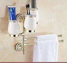 Continental blaue und weiße Porzellan Handtuchhalter/Tuchstab/[Gold Edelstahl]/Antike Bad-Accessoires Bad-Suite-N