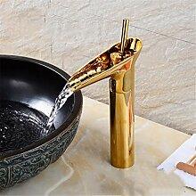 Continental Cu alle antikes Glas Waschbecken Sitzbank Becken unter Waschbecken retro Einloch heiße und kalte Dusche, gold Becher hoch)