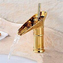 Continental Cu alle antikes Glas Waschbecken Sitzbank Becken unter Waschbecken retro Einloch heiße und kalte Dusche, gold Becher niedrig)