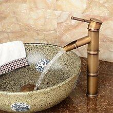 Continental Cu alle antikes Glas Waschbecken Sitzbank Becken unter Waschbecken retro Einloch heiße und kalte Dusche, antike Bambus hoch)