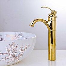 Continental gold Armaturen Waschtisch Mischer mit warmen und kaltem Wasser in der gesamten Messing Sitzbank Waschbecken MischbatterieIn Hahn