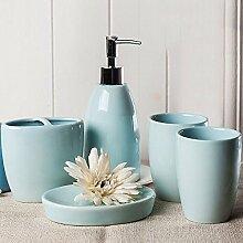 Continental Keramik Bad 5-teiliges Badezimmer Annehmlichkeiten Kit blau
