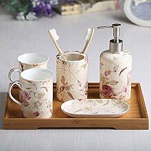 Continental Keramik Bad Kit 5Badezimmer Vanity darüber Supplies 5 Piece Set A