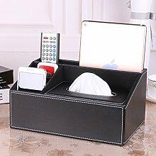 Continental Kreativ Einfach Leder Haushalt Tisch Multifunktional Remote-Speicher-Box Tissue-Boxen,H