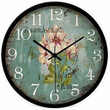 Continental Mittelmeer Retro Blumen kreative Kunst Salon mute Wanduhr by Home Déco Outlet ( Farbe : Black Frame , größe : 12inches )