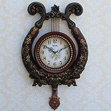 Continental Mute Wanduhr Mode Kunst Harfe Uhr,Brown
